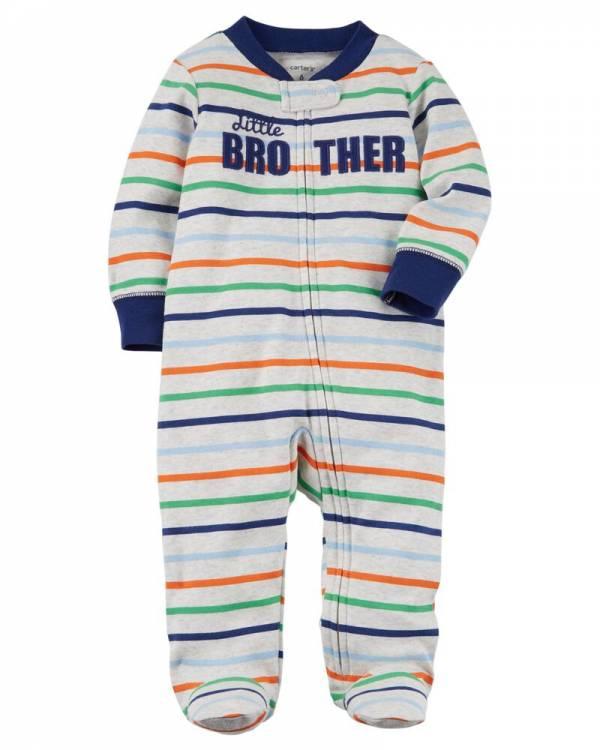Нов, неотпакуван, големина 9M, Carters Zip-Up Little Brother Cotton Sleep & Play