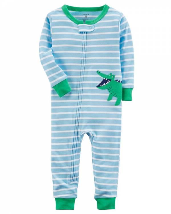 Ново, неотпакувано, големина 12M, Carter's 1-Piece Alligator Snug Fit Cotton Footless PJs