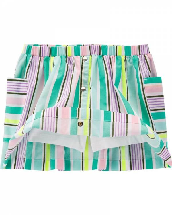 Ново, неотпакувано, големина 3T (за 3-годишно девојче), Carter's Striped Poplin Skort